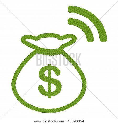 Four Leaf Clover Of Dollar Sign In Money Bag Rss