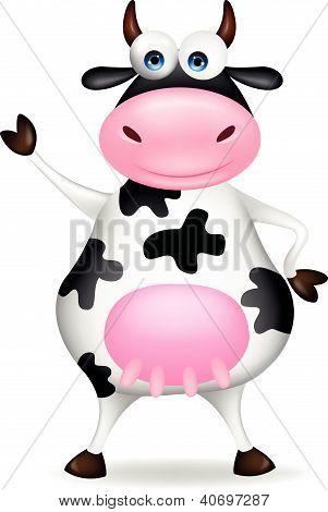 Funny cow cartoon waving