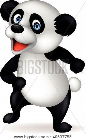 Funny panda cartoon dancing