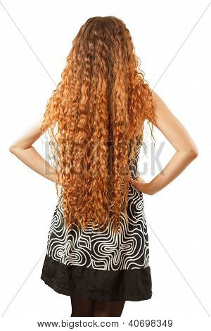 Hairstyle From Long Curly Hair From The Back On An Isolated White Background