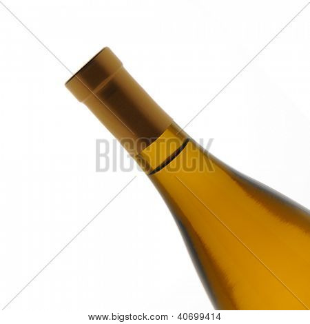 Closeup of a chardonnay wine bottle over a white background. Bottle is at a 45 degree angle only showing the top half of the container.