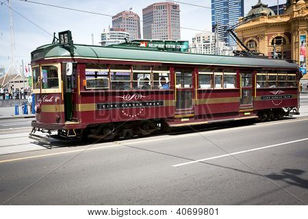 MELBOURNE, AUSTRALIA - OCTOBER 29: Vintage tram at Iconic Flinders Street Station which was completed in 1910 and is used by over 100,000 people  each day - 29 October 2012, Melbourne Australia,