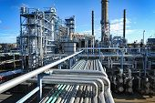stock photo of refinery  - overall view of oil and gas industry - JPG