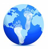 pic of carbon-footprint  - earth with footprints illustration design over white - JPG