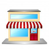 stock photo of awning  - detailed illustration of a store front - JPG
