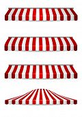 stock photo of marquee  - detailed illustration of set of striped awnings - JPG