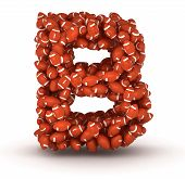 image of ncaa  - Letter B making from american football balls - JPG