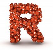 foto of ncaa  - Letter R making from american football balls - JPG
