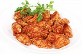 Chicken wings with spicy barbecue sauce poster