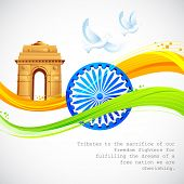 stock photo of ashok  - illustration of India Gate and Ashok Chakra with wavy Indian flag - JPG