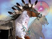 stock photo of great horse  - The bear in native American culture symbolized great strenght and power in the horse which was an important part of everyday life of the Indian - JPG