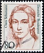 A stamp printed in the Germany shows Clara Schumann Pianist Composer
