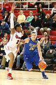 JAMAICA, NY-JAN 2: Delaware Blue Hens guard Lauren Carra (22) dribbles past St. John's Red Storm for