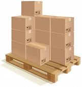 image of wooden pallet  - Cardboard boxes set on a wooden pallet