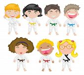 image of karate kid  - Illustration of karate kids on a white background - JPG