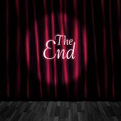 stock photo of curtain  - Theatre Curtain Close Or Stage Curtain Call In A Depiction Of A Movie Ending Screen At A Vintage Cinema - JPG