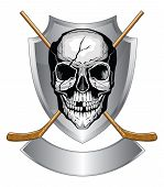 image of cranium  - Illustration of a human skull with broken teeth and cracked cranium with two crossed ice hockey sticks on a shield with banner - JPG