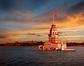 picture of constantinople  - Maiden Tower and the Old City Silhouette in Istanbul Turkey - JPG