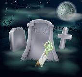 stock photo of undead  - Horror illustration of an undead zombie hand and arm reaching out of a spooky grave - JPG