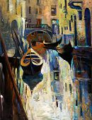 stock photo of gondolier  - Original oil painting of beautiful Venice Italy - JPG