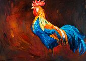 stock photo of rooster  - Original oil painting of blue and orange rooster or  - JPG