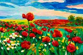 stock photo of opium  - Original oil painting of Opium poppy - JPG