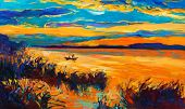 stock photo of acrylic painting  - Original oil painting showing beautiful lake with boatsunset landscape - JPG