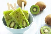 stock photo of sorbet  - Kiwi Ice Cream Popsicle with Lime - JPG