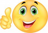 stock photo of emoticon  - Vector illustration of Happy Smiley Emoticon Face with thumb up - JPG