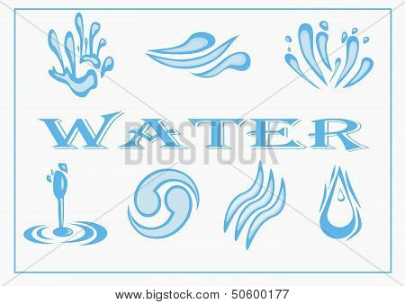 Water Icon Set. Vector Illustration.