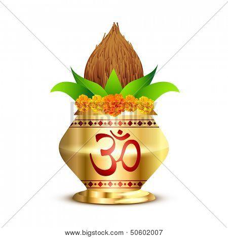 pooja kalash with om symbol