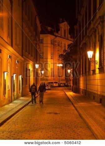 Night Street In Prague