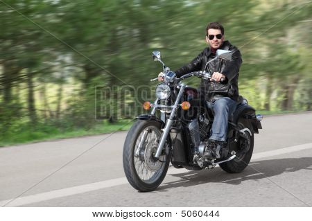 Young Rider Driving Motorcycle