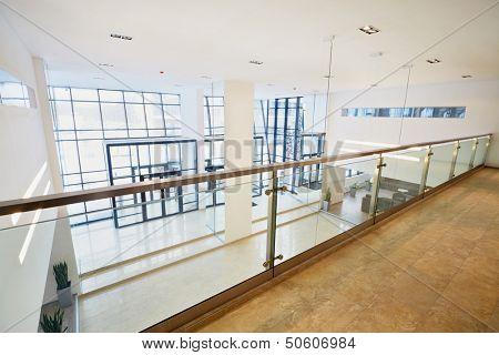 View of enrance door in business center from second floor