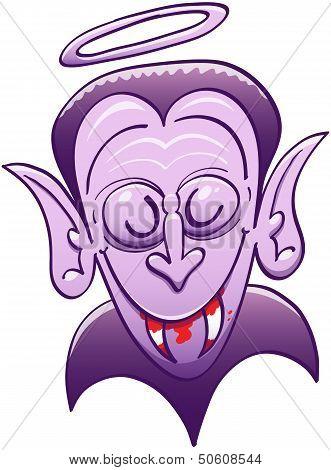 Cool Dracula looking innocent while having blood on his teeth