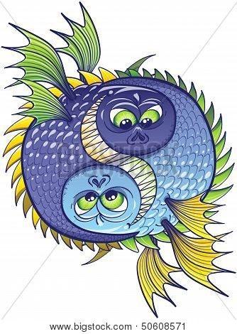 Yin yang composed of two aggressive and monstrous fishes