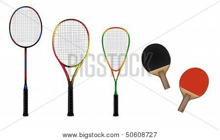 Badminton, Tennis, Squash And Table Tennis Equipment Vector Illustration
