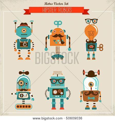Set of cute hipster vintage robots