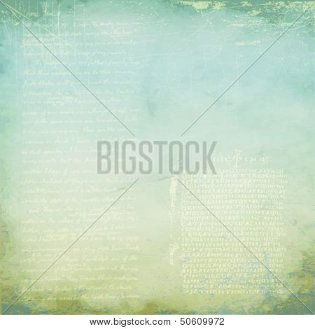Soft blue-gray aged background, with old scripts and grungy texture