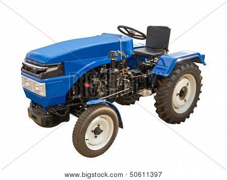 Blue agriculture tractor