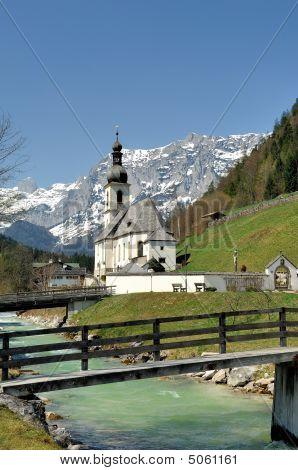 Parish Church St. Sebastian With The Reiter Alpe In Ramsau