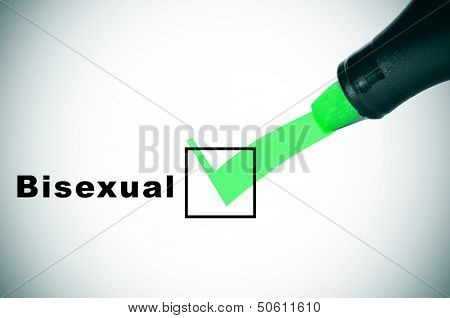 a check mark drawn with a green marker pen on a checkbox with the word bisexual