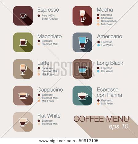 Coffee vector icon set menu. Buttons for web and apps. Coffee beverages types and preparation: espresso, mocha, macchiato, americano, latte,long black, cappucino, espresso con panna, flat white,