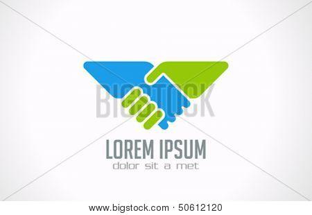 Handshake abstract logo vector design template. Business creative concept. Deal, contract, team icon