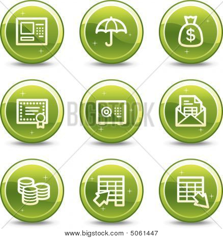 Banking Web Icons, Green Glossy Circle Buttons Series