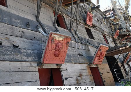 Wooden Pirate Ship On The Coast