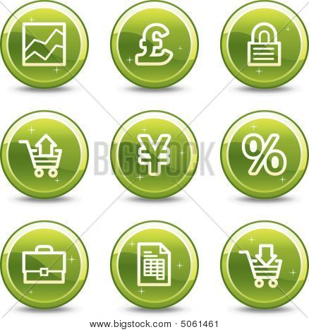 E-business Web Icons, Green Glossy Circle Buttons Series
