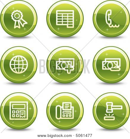 Finance Web Icons, Green Glossy Circle Buttons Series