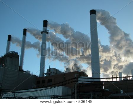 Coal Plant On Vary Cold Day