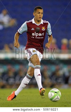 BARCELONA - SEPT, 5: Ravel Morrison of West Ham United in action during a friendly match against RCD Espanyol at the Estadi Cornella on September 5, 2013 in Barcelona, Spain